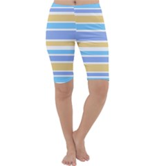 Blue Yellow Stripes Cropped Leggings  by BrightVibesDesign