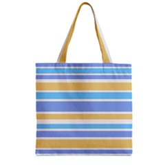 Blue Yellow Stripes Zipper Grocery Tote Bag by BrightVibesDesign