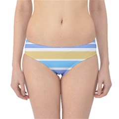 Blue Yellow Stripes Hipster Bikini Bottoms by BrightVibesDesign
