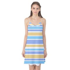 Blue Yellow Stripes Camis Nightgown by BrightVibesDesign