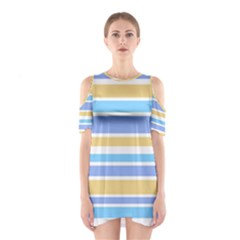 Blue Yellow Stripes Cutout Shoulder Dress by BrightVibesDesign