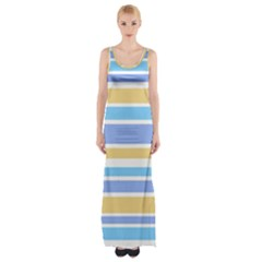 Blue Yellow Stripes Maxi Thigh Split Dress by BrightVibesDesign