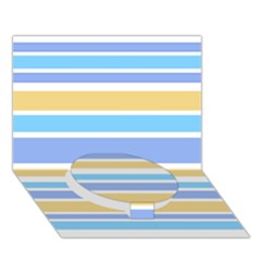 Blue Yellow Stripes Circle Bottom 3d Greeting Card (7x5)  by BrightVibesDesign
