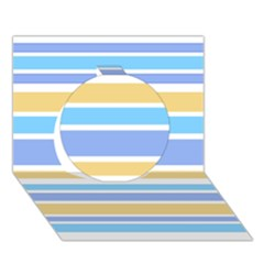 Blue Yellow Stripes Circle 3D Greeting Card (7x5)  by BrightVibesDesign