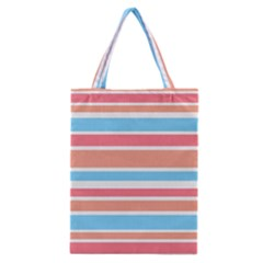 Orange Blue Stripes Classic Tote Bag by BrightVibesDesign