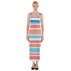 Orange Blue Stripes Fitted Maxi Dress by BrightVibesDesign