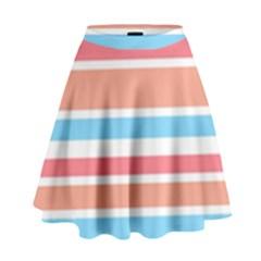 Orange Blue Stripes High Waist Skirt by BrightVibesDesign
