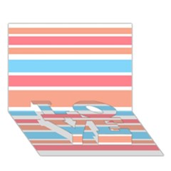 Orange Blue Stripes Love Bottom 3d Greeting Card (7x5)  by BrightVibesDesign