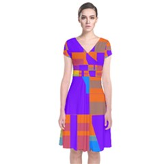 Misc Colorful Shapes          Short Sleeve Front Wrap Dress