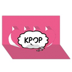 Comic Book Think Kpop Pink Twin Hearts 3d Greeting Card (8x4)  by ComicBookPOP