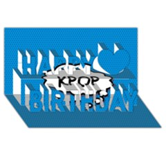 Comic Book Kpop Blue Happy Birthday 3d Greeting Card (8x4)  by ComicBookPOP