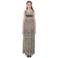 Colors For Peace And Lace In Rainbows In Decorative Style Empire Waist Maxi Dress