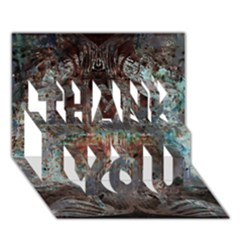 Metallic Copper Patina Urban Grunge Texture Thank You 3d Greeting Card (7x5) by CrypticFragmentsDesign
