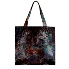 Metallic Copper Patina Urban Grunge Texture Zipper Grocery Tote Bag by CrypticFragmentsDesign