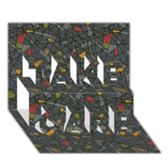 Abstract Reg Take Care 3d Greeting Card (7x5)