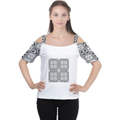 Black And White Women s Cutout Shoulder Tee by FunkyPatterns
