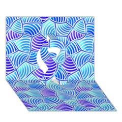 Blue And Purple Glowing Ribbon 3d Greeting Card (7x5)  by FunkyPatterns
