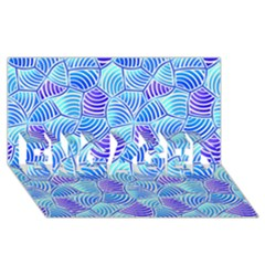 Blue And Purple Glowing Engaged 3d Greeting Card (8x4)  by FunkyPatterns