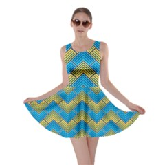Blue And Yellow Skater Dress by FunkyPatterns
