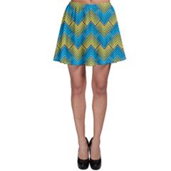 Blue And Yellow Skater Skirt by FunkyPatterns