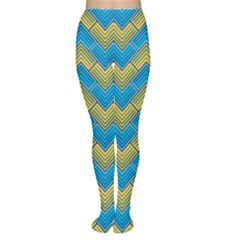 Blue And Yellow Women s Tights by FunkyPatterns