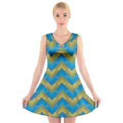 Blue And Yellow V Neck Sleeveless Skater Dress by FunkyPatterns