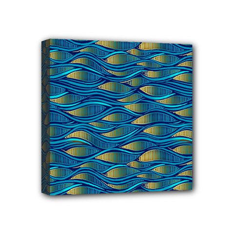 Blue Waves Mini Canvas 4  X 4  by FunkyPatterns
