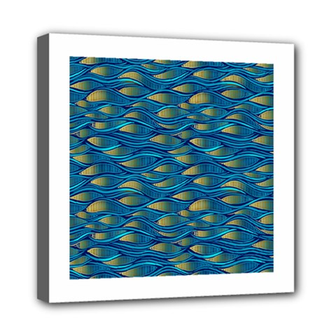 Blue Waves Mini Canvas 8  X 8  by FunkyPatterns