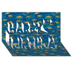Blue Waves Happy Birthday 3d Greeting Card (8x4)