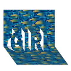 Blue Waves Girl 3d Greeting Card (7x5)  by FunkyPatterns