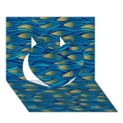 Blue Waves Heart 3d Greeting Card (7x5)  by FunkyPatterns