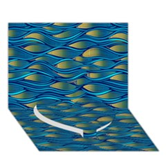 Blue Waves Heart Bottom 3d Greeting Card (7x5)  by FunkyPatterns