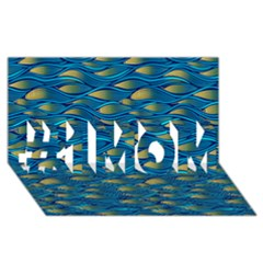 Blue Waves #1 Mom 3d Greeting Cards (8x4)  by FunkyPatterns