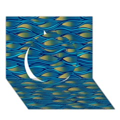 Blue Waves Circle 3d Greeting Card (7x5)  by FunkyPatterns