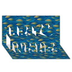 Blue Waves Best Wish 3d Greeting Card (8x4)  by FunkyPatterns