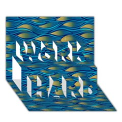 Blue Waves Work Hard 3d Greeting Card (7x5)  by FunkyPatterns