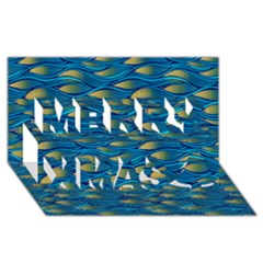 Blue Waves Merry Xmas 3d Greeting Card (8x4)  by FunkyPatterns
