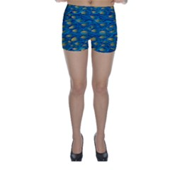 Blue Waves Skinny Shorts by FunkyPatterns