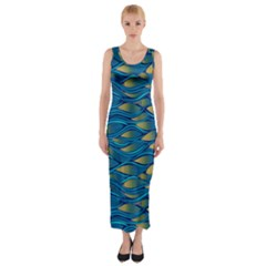 Blue Waves Fitted Maxi Dress by FunkyPatterns