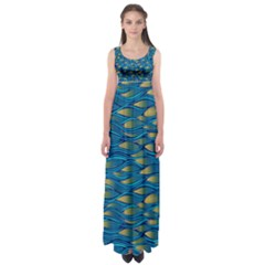 Blue Waves Empire Waist Maxi Dress by FunkyPatterns