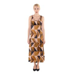 Brown Tiles Sleeveless Maxi Dress by FunkyPatterns