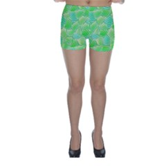 Green Glowing Skinny Shorts by FunkyPatterns