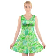 Green Glowing V Neck Sleeveless Skater Dress by FunkyPatterns