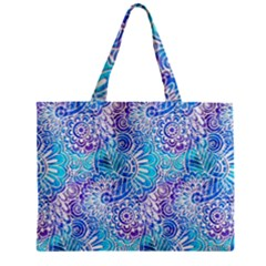 Boho Flower Doodle On Blue Watercolor Zipper Mini Tote Bag by KirstenStar