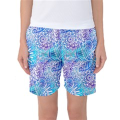 Boho Flower Doodle On Blue Watercolor Women s Basketball Shorts by KirstenStar