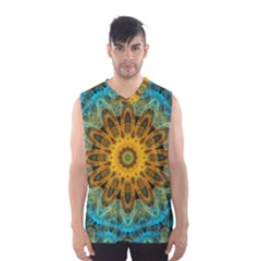 Blue Yellow Ocean Star Flower Mandala Men s Basketball Tank Top