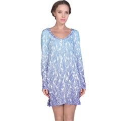 Blue Ombre Feather Pattern, White,  Long Sleeve Nightdress