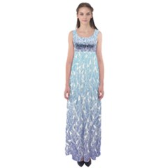 Blue Ombre Feather Pattern, White,  Empire Waist Maxi Dress by Zandiepants