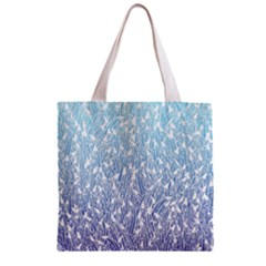 Blue Ombre Feather Pattern, White, Zipper Grocery Tote Bag by Zandiepants