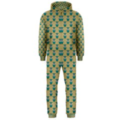 Small Teal Owls On Ecru Hooded Jumpsuit (Men)  by CircusValleyMall